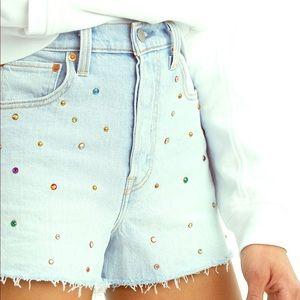 Levi's Rhinestone embellished denim shorts.